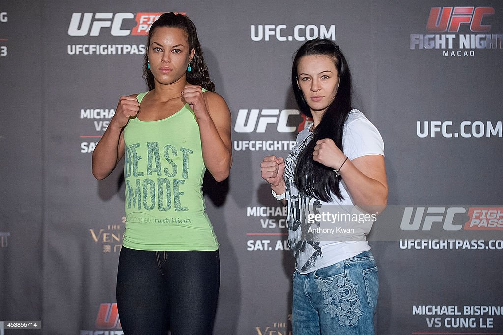 Elizabeth Phillips and Milana Dudieva at a face offs event during the Macao UFC Fight Night Press Conference at the Four Season Hotel on August 20, 2014 in Hong Kong.