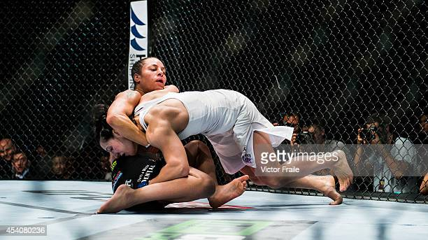 Elizabeth Phillips of USA and Milana Dudieva of Russia in action on their women's bantamweight bout during the UFC Fight Night at The Venetian Macao...