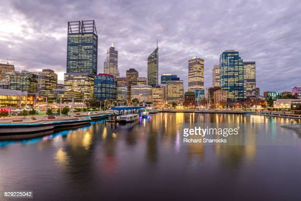 elizabeth quay and central business district, pert, western australia - perth australia stock pictures, royalty-free photos & images