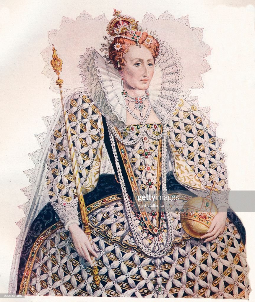 Elizabeth, Queen of England, in the dress in which she went to return thanks for the Defeat of the Spanish Armada, 1588. After Issac Oliver (c1565-1617). From The Connoisseur Vol. IV [Otto Limited, London, 1902.] Artist: Edmund Thomas Parris