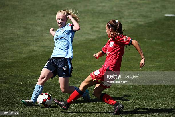 Elizabeth Ralston of Sydney competes for the ball during the round 14 WLeague match between Adelaide United and Sydney FC at Coopers Stadium on...