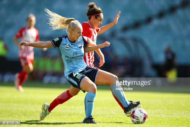 Elizabeth Ralston of Sydney FC and Jodie Taylor of Melbourne City compete for the ball during the WLeague Grand Final match betweenSydney FC and...