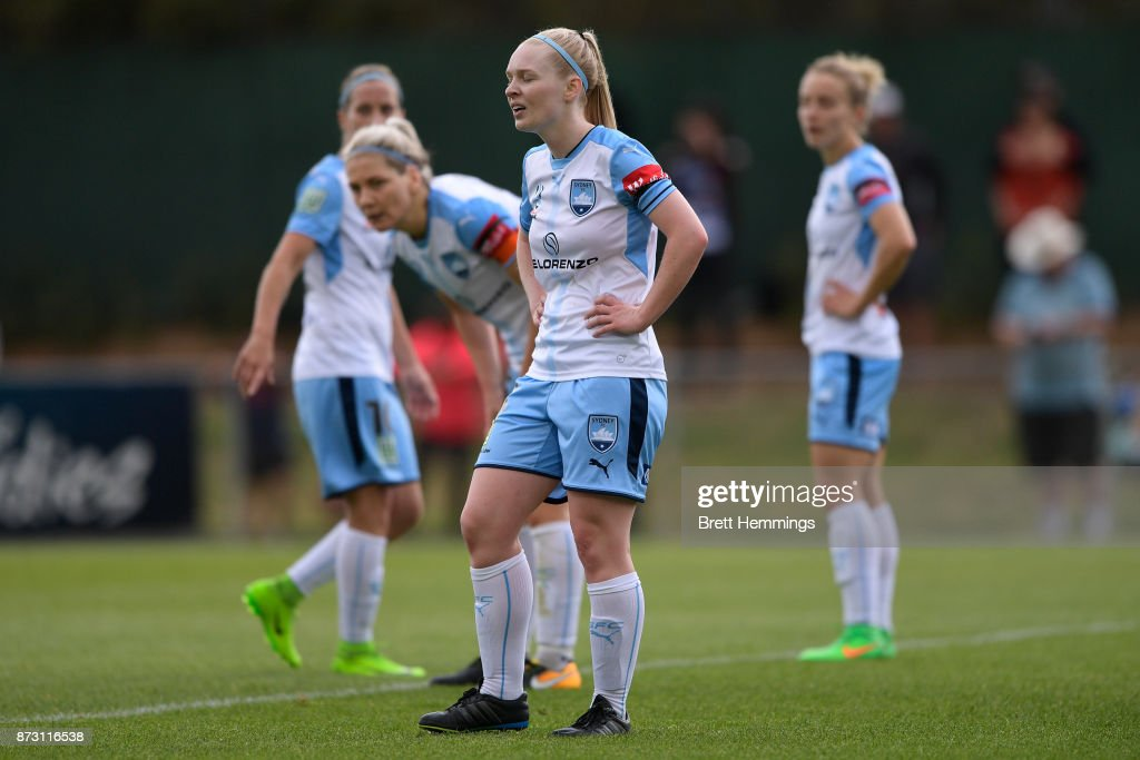 Elizabeth Ralston of Sydney shows her dejection during the round three W-League match between Canberra United and Sydney FC at McKellar Park on November 12, 2017 in Canberra, Australia.