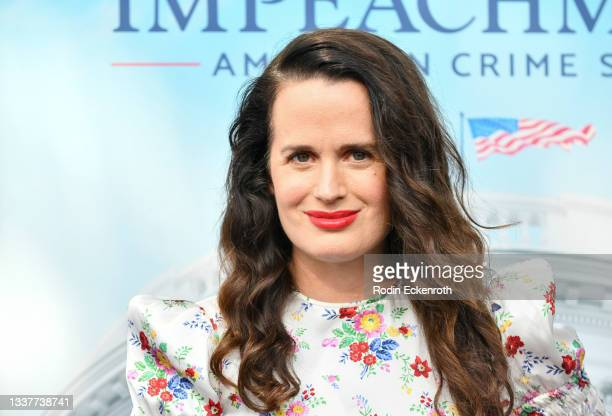 """Elizabeth Reaser attends the premiere of FX's """"Impeachment: American Crime Story"""" at Pacific Design Center on September 01, 2021 in West Hollywood,..."""