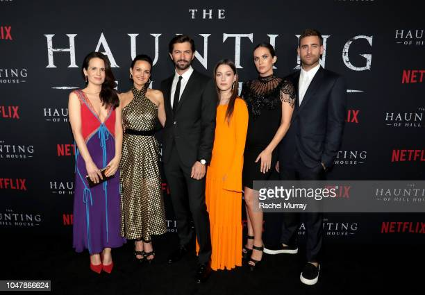 Elizabeth Reaser Carla Gugino Michiel Huisman Victoria Pedretti Kate Siegel and Oliver JacksonCohen attend Netflix's The Haunting of Hill House...