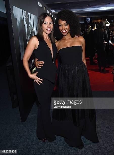 "Elizabeth Rodriguez and Sonequa Martin-Green attend AMC's ""The Walking Dead"" Season 6 Fan Premiere Event 2015 at Madison Square Garden on October 9,..."