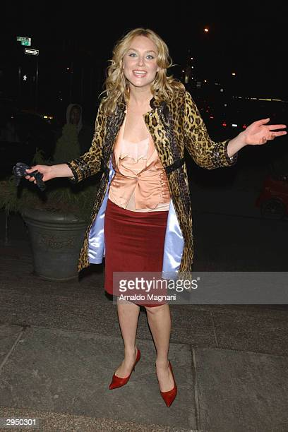 Elizabeth Rohm arrives at the Luca Luca fashion show at Bryant Park during the Olympus 2004 Fall Fashion Show February 8 2004 in New York City