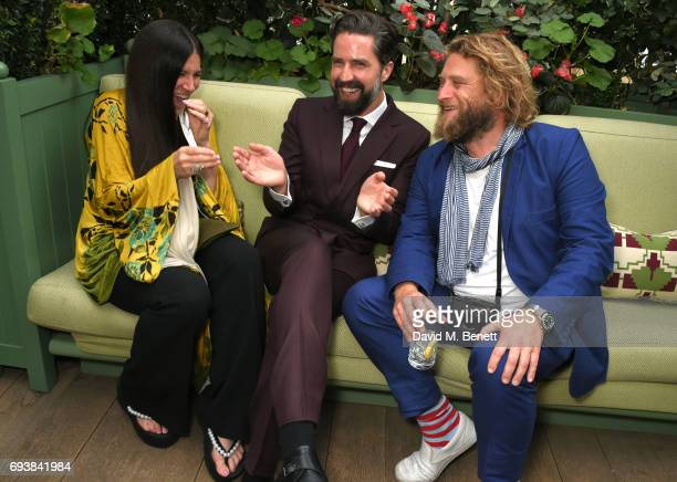 Elizabeth Saltzman Jack Guinness and Greg Williams attend the London Fashion Week Men's 5th Anniversary party and the launch of 'London Sartorial...