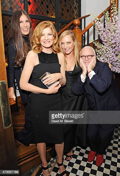 Elizabeth Saltzman Rene Russo Uma Thurman and Manolo Blahnik attend the Icons of Style dinner hosted by Michael Kors and Vanity Fair on May 14 2015...