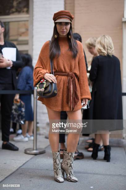 Elizabeth Savetsky is seen attending Mansur Gavriel during New York Fashion Week wearing Free People Gucci Miu Miu on September 10 2017 in New York...