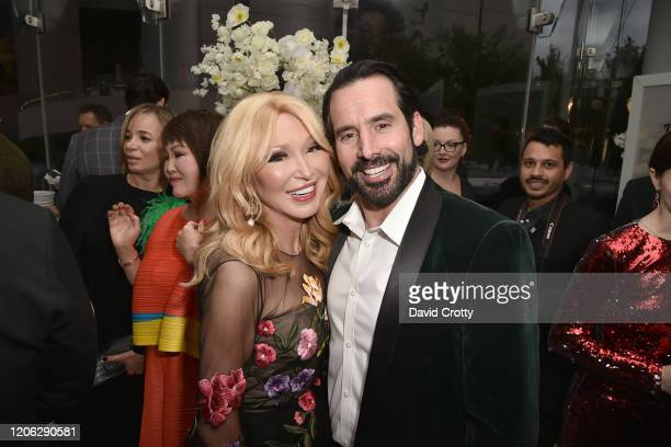 Elizabeth Segerstrom and Chris Gialanella attend Of Love And Rage Premiere Dinner Hosted By Elizabeth Segerstrom at Leatherby's Cafe Rouge on March 7...