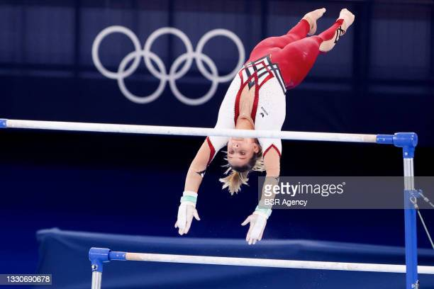 Elizabeth Seitz of Germany competing on Women's Qualification - Subdivision 5 during the Tokyo 2020 Olympic Games at the Ariake Gymnastics Centre on...