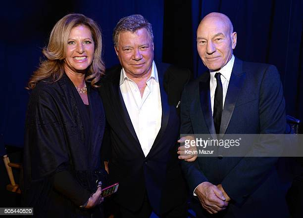 Elizabeth Shatner actor William Shatner and actor Patrick Stewart attend the 21st Annual Critics' Choice Awards at Barker Hangar on January 17 2016...
