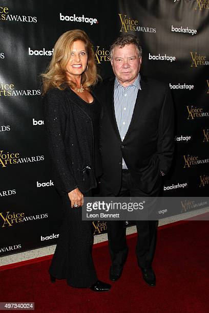 Elizabeth Shatner and actor William Shatner arrived at the 2015 Voice Arts Awards at Pacific Design Center on November 15 2015 in West Hollywood...