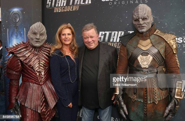 Elizabeth Shatner and William Shatner attend the premiere of CBS's Star Trek Discovery at The Cinerama Dome on September 19 2017 in Los Angeles...
