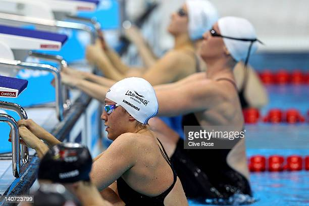 Elizabeth Simmonds of Loughborough University S WPC competes in the Women's 100m Backstroke Final during day three of the British Gas Swimming...