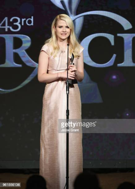 Elizabeth Smart accepts award onstage at the 43rd Annual Gracie Awards at the Beverly Wilshire Four Seasons Hotel on May 22 2018 in Beverly Hills...