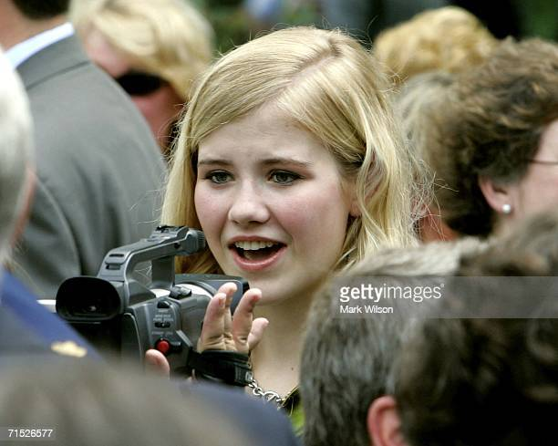 Elizabeth Smart is interviewed after US President George W Bush signed the HR 4472 the Adam Walsh Child Protection and Safety Act of 2006 in the Rose...