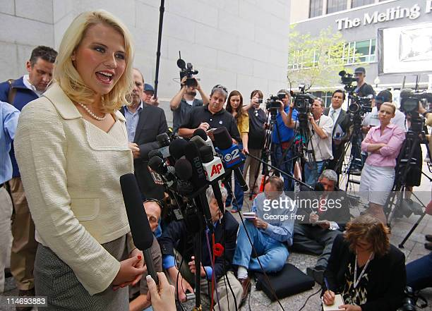 Elizabeth Smart talks to the press outside of federal court after the sentencing of Elizabeths kidnapper Brian David Mitchell May 25 2011 in Salt...
