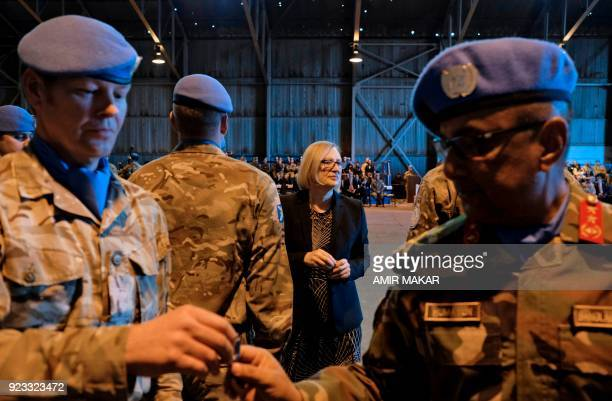 Elizabeth Spehar United Nations Special Representative and head of the UN Peacekeeping Force in Cyprus decorates with Force Commander Major General...