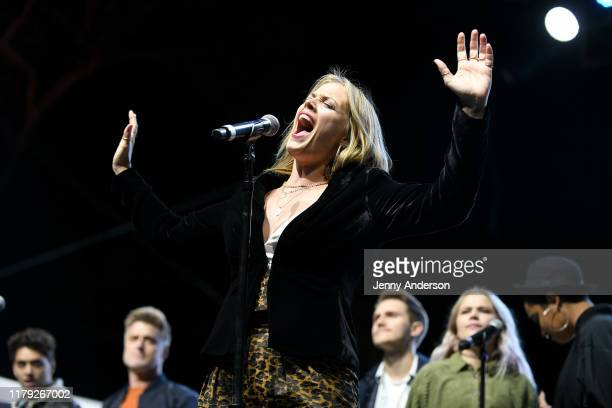Elizabeth Stanley of the cast of Jagged Little Pill performs onstage during the 5th Annual Elsie Fest Broadway's Outdoor Music Festival on October 05...