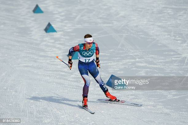 Elizabeth Stephen of the United States competes during the CrossCountry Skiing Ladies' 10 km Free on day six of the PyeongChang 2018 Winter Olympic...