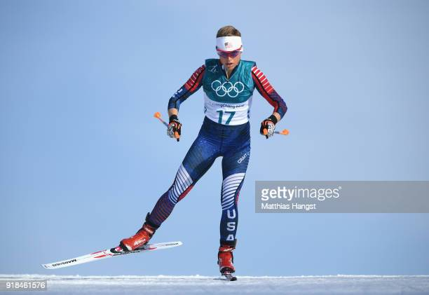 Elizabeth Stephen of the United States skis during the CrossCountry Skiing Ladies' 10 km Free on day six of the PyeongChang 2018 Winter Olympic Games...