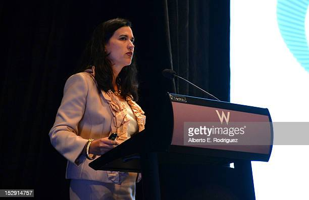 Elizabeth Stephenson Partner at McKinsey Company speaks onstage during The Hollywood IT Society's Digital Marketing Analytics Summit Coproduced by...