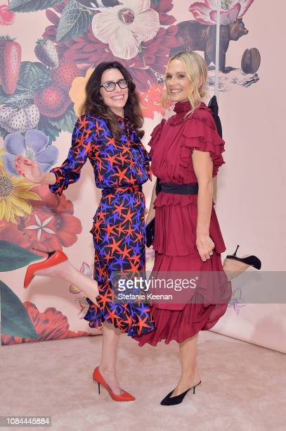 Elizabeth Stewart and Molly Sims attend Sergio Rossi Elizabeth Stewart Celebrate Capsule Collection at PopUp at Westfield Century City on January 17...