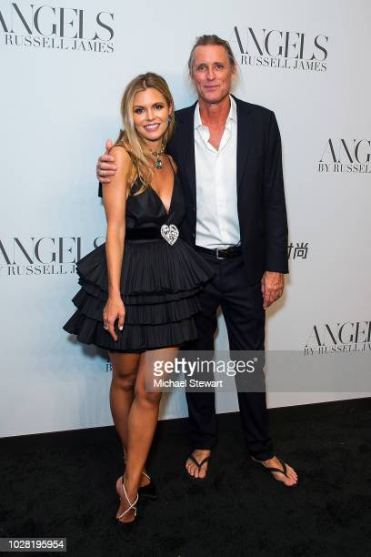 Elizabeth Sulcer and Russell James attend the Russell James 'Angels' book launch & exhibit at Stephan Weiss Studio on September 6, 2018 in New York...