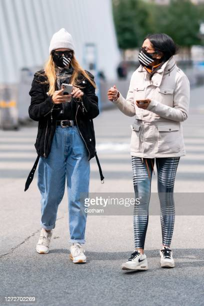 Elizabeth Sulcer and Trisha Ayyagari are seen at a photoshoot for Maybelline at the Oculus on September 15 2020 in New York City