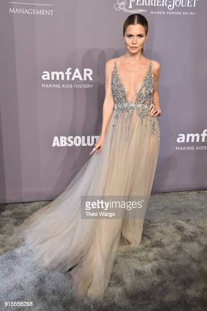 Elizabeth Sulcer attends the 2018 amfAR Gala New York at Cipriani Wall Street on February 7 2018 in New York City