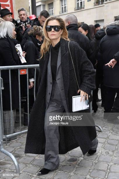 Elizabeth Sulcer is seen arriving at Dior Fashion Show during Paris Fashion Week Womenswear Fall/Winter 2018/2019 on February 27 2018 in Paris France