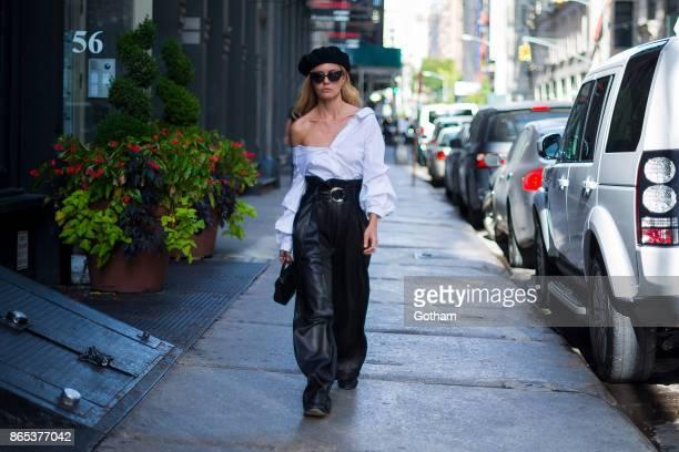 Elizabeth Sulcer is seen in SoHo on October 22 2017 in New York City