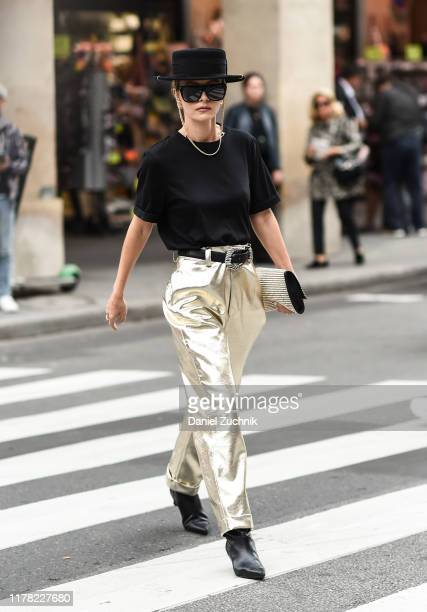 Elizabeth Sulcer is seen outside the Giambattista Valli show during Paris Fashion Week SS20 on September 30, 2019 in Paris, France.