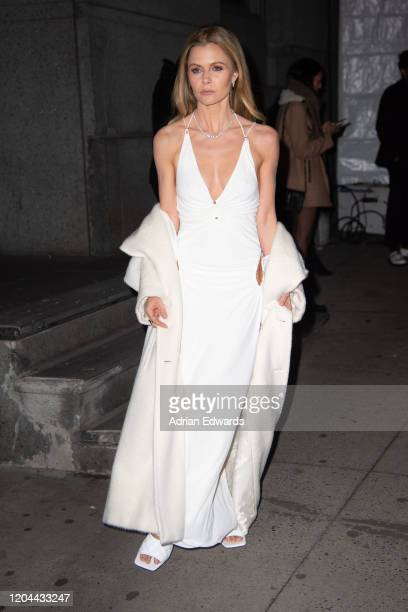 Elizabeth Sulcer outside the amFAR Gala held at Cipriani Wall St on February 5, 2020 in New York City.