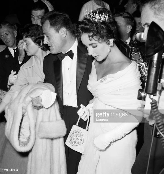 Elizabeth Taylor and husband film producer Mike Todd pictured on opening night of the Cannes Film Festival 1957 where his is promoting new film...