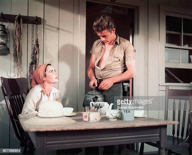 Elizabeth Taylor and James Dean in the 1955 film Giant directed by George Stevens