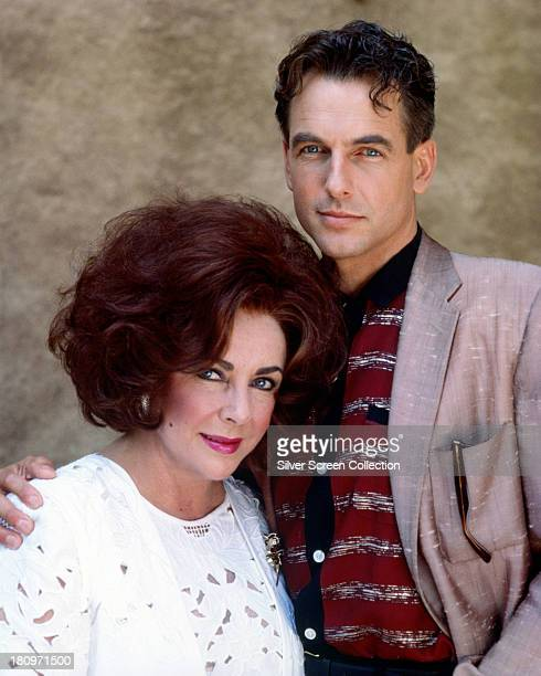 Elizabeth Taylor and Mark Harmon in a promotional portrait for the TV movie 'Sweet Bird Of Youth' directed by Nicolas Roeg 1989