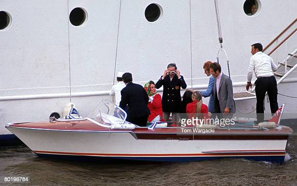 Elizabeth Taylor and Richard Burton on their yacht Kalizma moored on the river Thames at Rotherhithe