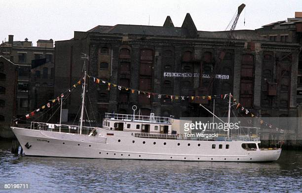 Elizabeth Taylor and Richard Burton's yacht Kalizma moored on the river Thames at Wapping