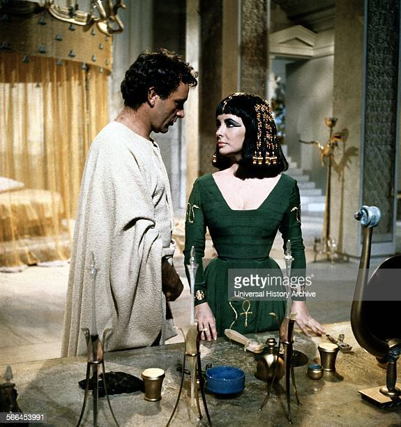 Elizabeth Taylor as Cleopatra with Richard Burton as Marc Anthony in the 1963 epic drama film directed by Joseph L Mankiewicz