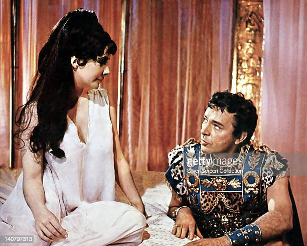 Elizabeth Taylor British actress and Richard Burton British actor both in costume in a publicity still issued for the film 'Cleopatra' 1963 The...