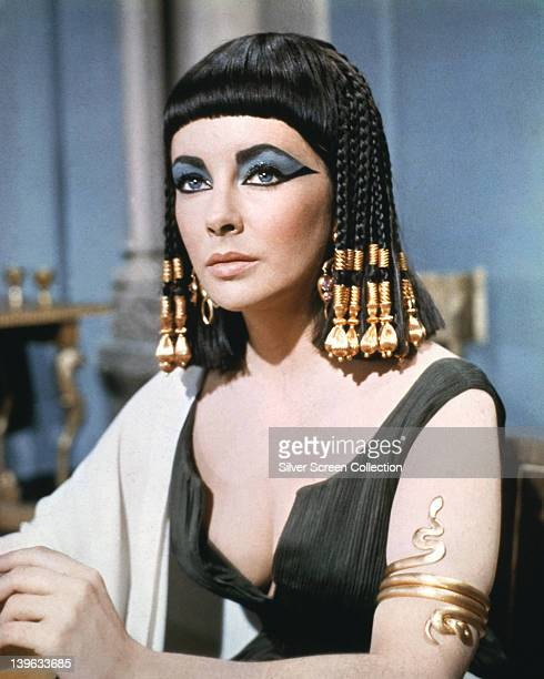 Elizabeth Taylor , British actress, in costume wearing eye make-up in a publicity still issued for the film, 'Cleopatra', 1963. The historical drama,...
