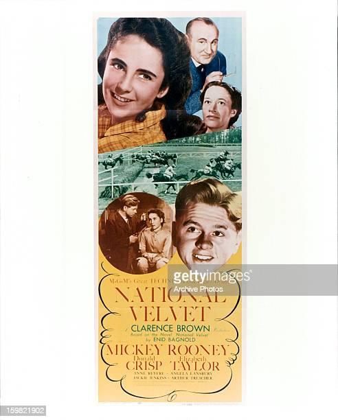 Elizabeth Taylor, Donald Crisp, and Mickey Rooney in movie art for the film 'National Velvet', 1944.