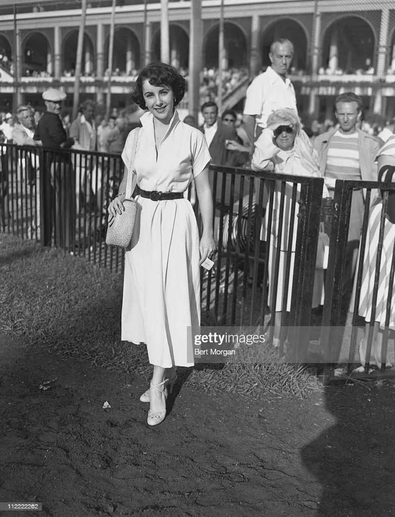 Elizabeth Taylor in the enclosure at Hialeah Race Track, Miami, Florida, 1950s.