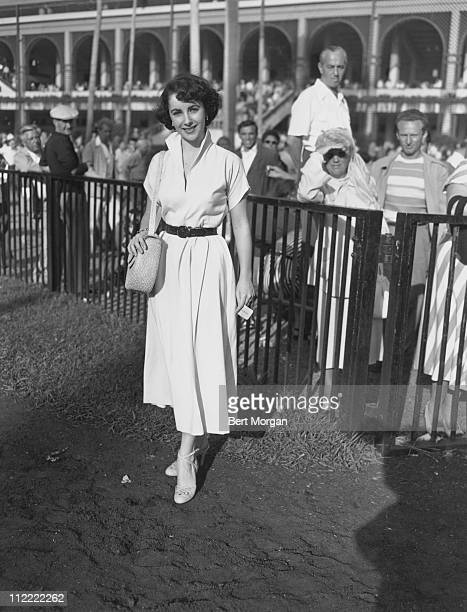 Elizabeth Taylor in the enclosure at Hialeah Race Track Miami Florida 1950s