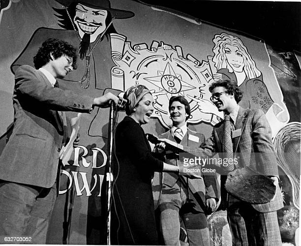Elizabeth Taylor is presented with the Hasty Pudding Spoon at the Woman Of The Year Award show in Cambridge MA on Feb 15 1977