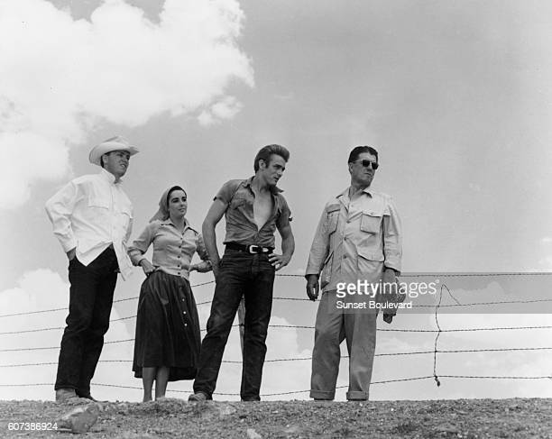 Elizabeth Taylor James Dean and director George Stevens on the set of the 1955 film Giant