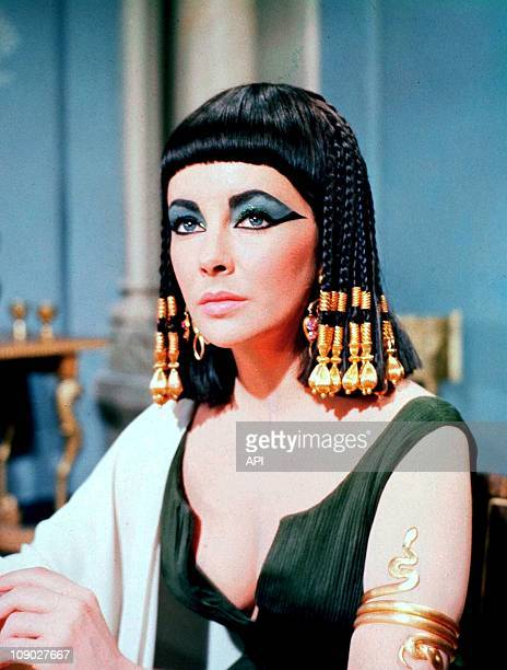 Elizabeth Taylor on the film set of 'Cleopatra' directed by Joseph L. Mankiewicz in 1963.